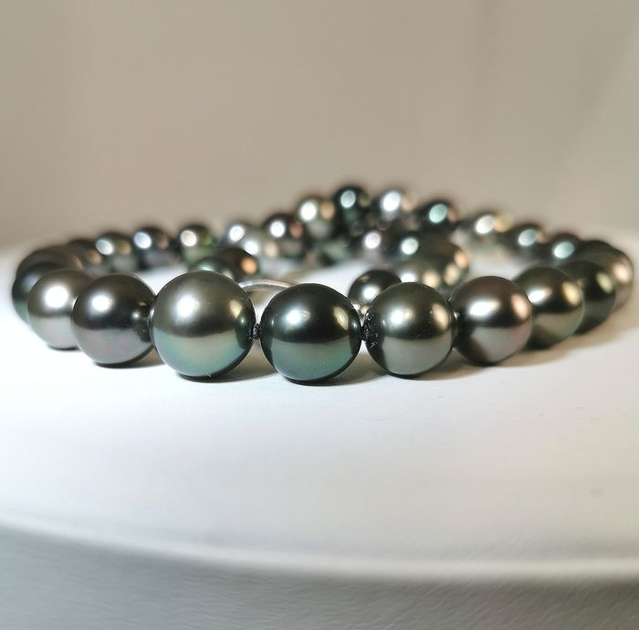 #LOW RESERVE PRICE# - 925 Multicolor Tahitian pearls, Silver, Size 9,2x12,5 mm - Extra lustre - Necklace