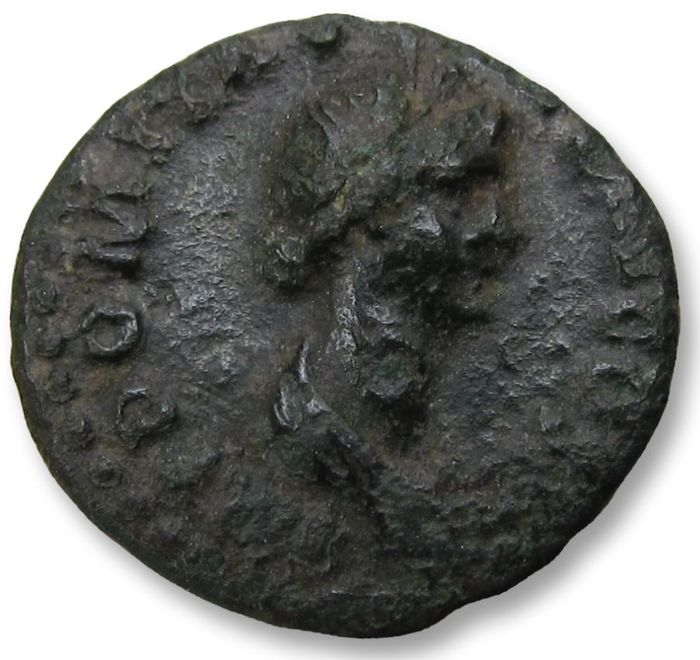 Romeinse Rijk - AE quadrans, struck under Domitianus - rare 16mm coin - Rome 85 A.D. - Bust of Ceres + basket full with corn ears - Brons