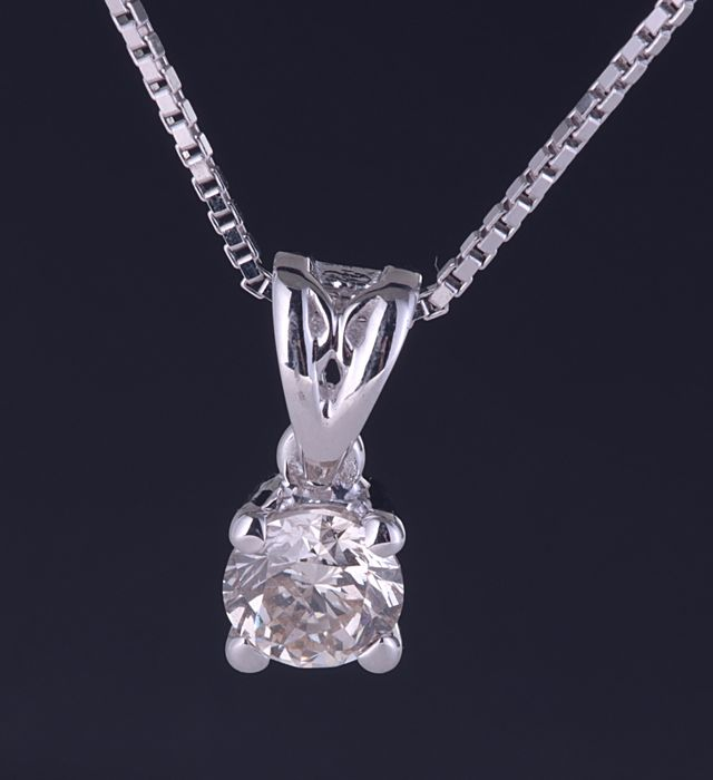 18 kt. White gold - Pendant - 0.30 ct Diamond