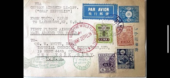 Japan 1929 - A letter sent by Zeppelin between Tokyo and New York.