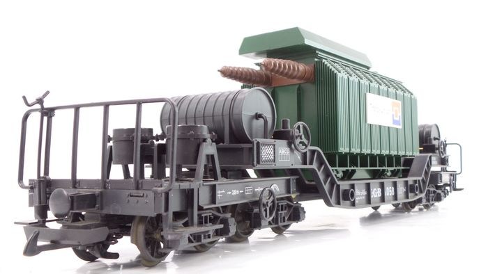 LGB G - 4058 - Freight carriage - Special trolley for heavy goods, loaded with transformer 'Trafo-Union'