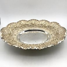 Very large and very heavy antique Djokja silver Fruit bowl on ball feet - Silver