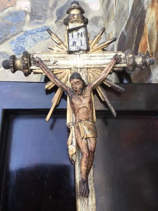 Crucifix, Beautiful Christ on the cross (65cm - 26 inches) - Wood - 19th century