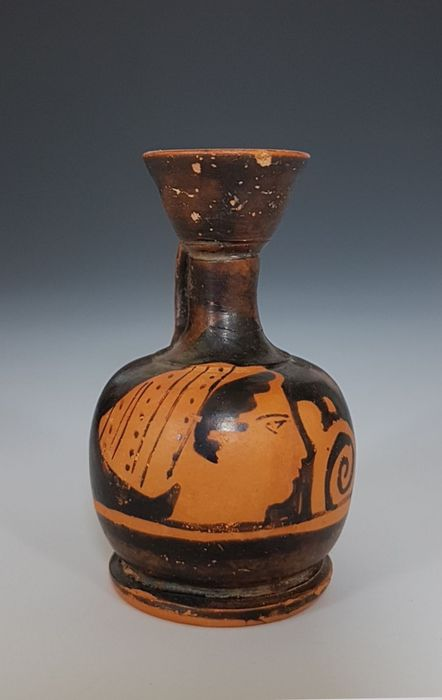 Ancient Greek Ceramic Attic red-figure Squat Lekythos