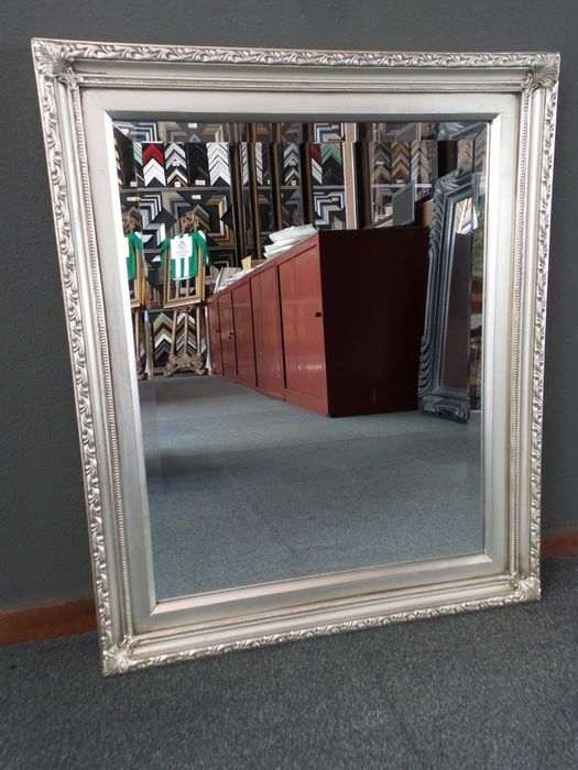 Large Mirror with faceted glass - Glass, Silver gilt, Wood