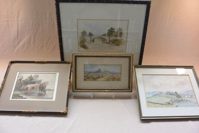 Watercolors in frame - English School - landscapes and cows (4)