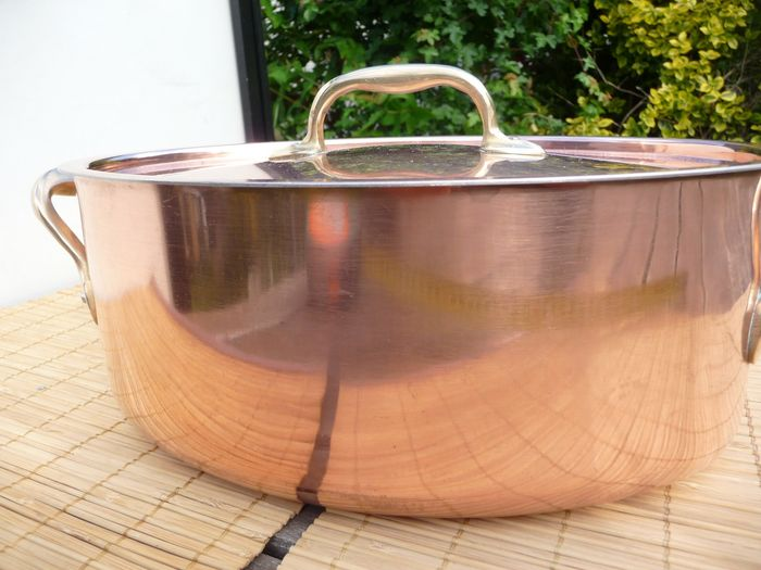 Inoucruivre  - Heavy professional restaurant oval pan with lid 2313 g (1) - Copper