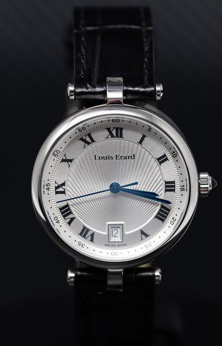 """Louis Erard - Romance Collection Blue Sapphire Cabochon Crown Swiss Made Leather - """"NO RESERVE PRICE"""" 11810AA01BDCB5 - Women - Brand New"""