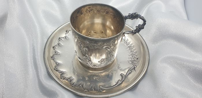 Cup, saucer (1) - .950 silver - France - Late 19th century