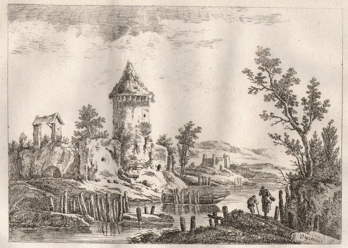 Jean. Viglianis (18th C.) - Round tower and other ruins along a river