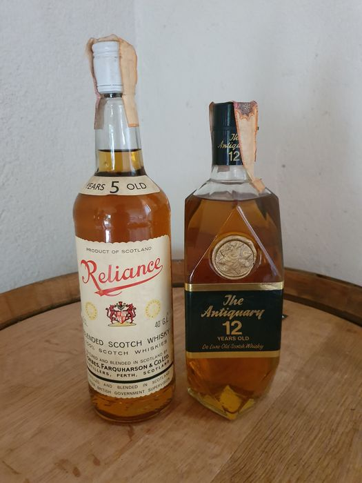 Reliance 5 years old & Antiquary 12 years old - b. 1970s - 750ml - 2 bottles