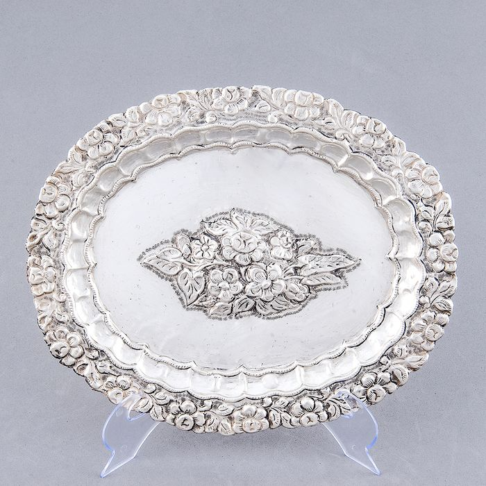 Decorative Tray - .925 silver - 264 gr. - Spain - Early 19th century