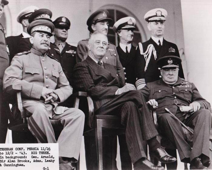 AP Wirephoto - Teheran 43, Big Three. Stalin - Roosevelt - Churchill 1943