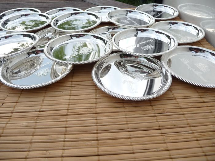 beautiful silver plated coasters for glasses or cups (18) - Silverplate