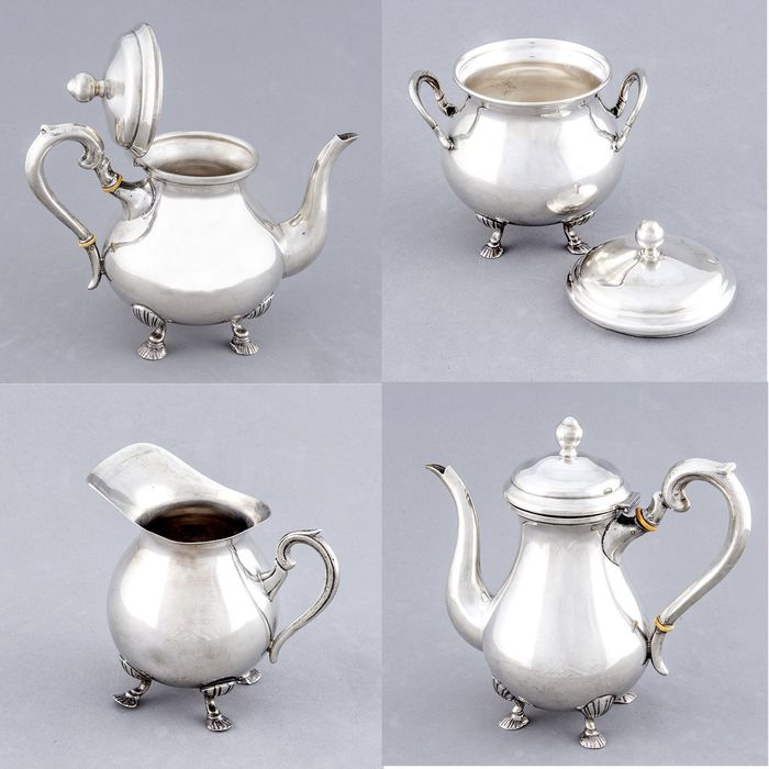 Coffee and tea service - .900 silver - 3.002 gr. - South America - Early 20th century
