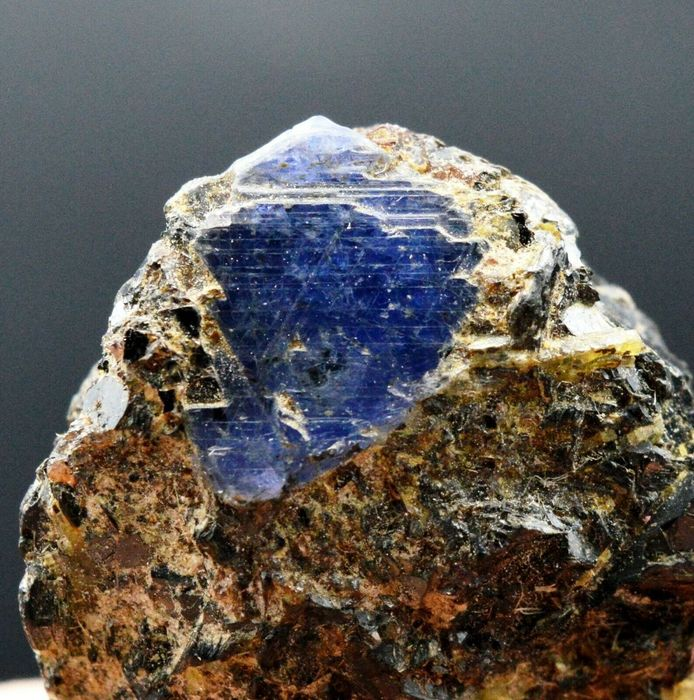 Blue sapphire variety corundum Crystal on matrix - 41×25×20 mm - 33 g