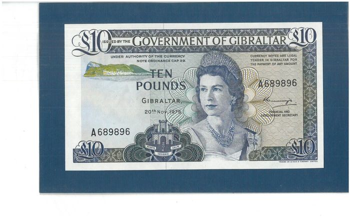 Gibraltar - 1 - 5 - 10  Pounds 1975 - Pick 20a, 21a and 22a