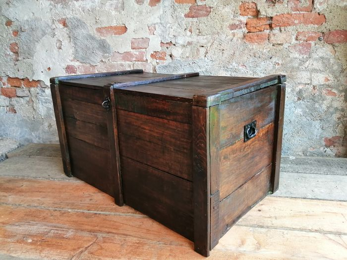 Industrial shipping trunk from the 1800s restored for interiors - Industrial - Wood
