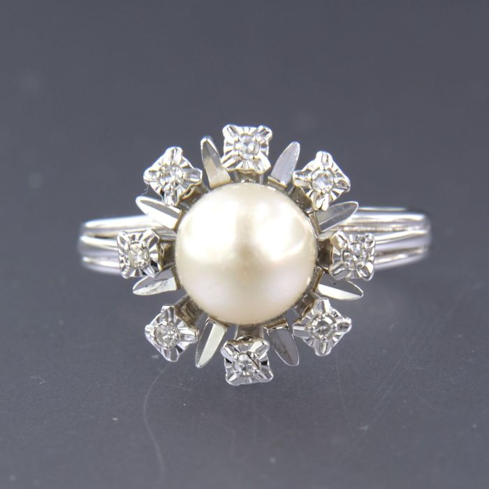 18 kt. Freshwater pearl, White gold, 7.1 mm - Ring - 0.08 ct Diamond