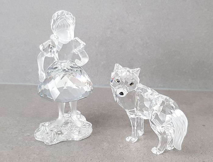 swarovski - Statue(s), Little Red Riding Hood and the wolf - Crystal