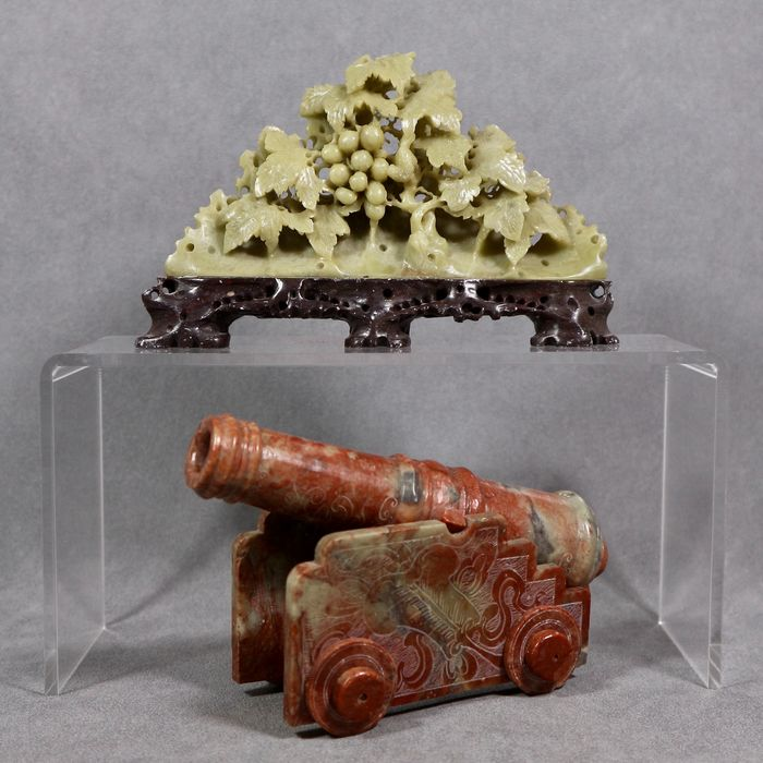 Sculptures, cannon and fruit bush (2) - Soapstone - China - Second half 20th century
