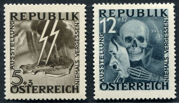 Österreich 1946 - Skull and Lightning with certificate Babor - ANK 13, 14