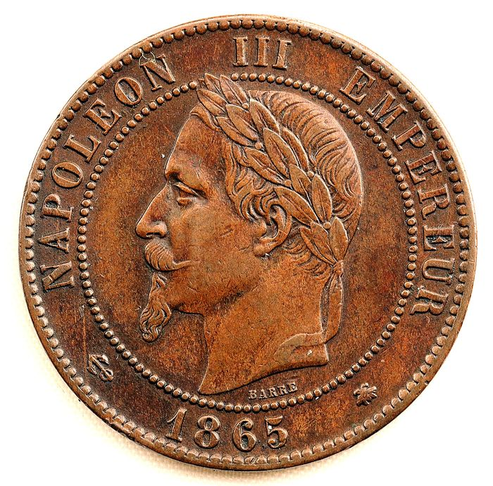 France - Napoleon III - 10 Centimes 1865-A (Paris) - Bronze