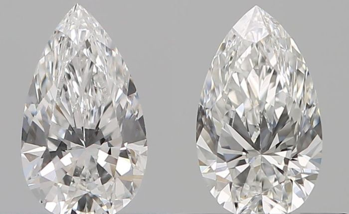 2 pcs Diamantes - 0.62 ct - Pera - E - VVS1, VVS2