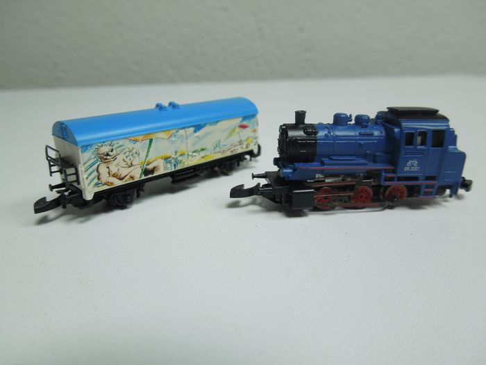 """Märklin Z - 81520 - Train set - """"Vacationing"""" with steam loc BR89, with freight carriage and uncomplete track oval"""