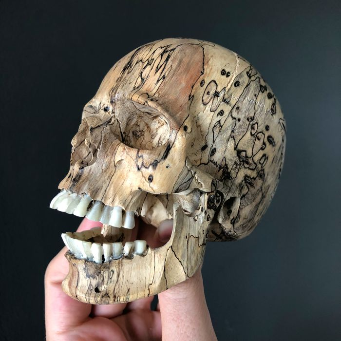 Stunning Hand-carved Human Skull With A Beautiful Natural Grain - Tamarind Wood