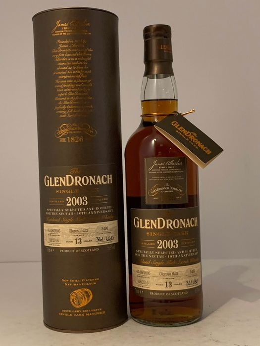 Glendronach 1993 13 years old Oloroso Butt #5490 for the Nectar 10th Anniversary  - Original bottling - 70cl
