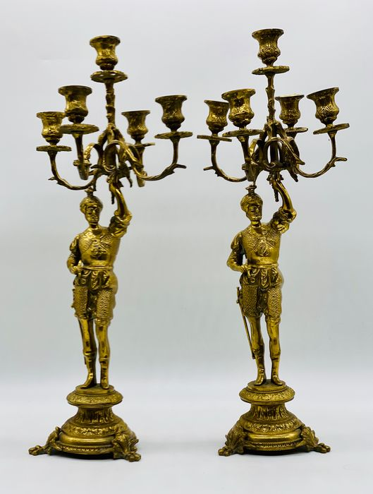 Great Renaissance Warrior Chandeliers (2) - Napoleon III Style