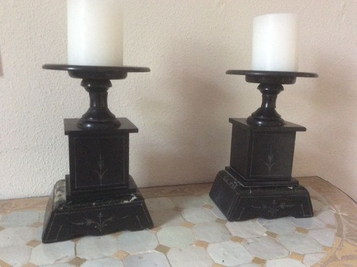 Two fireplace candlesticks (2) - Marble