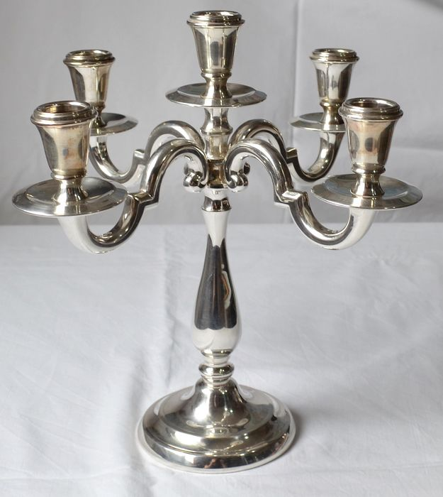 Beautiful 5-flame silver candlestick with octagonal solid silver arms - .800 silver - Italy - Late 20th century