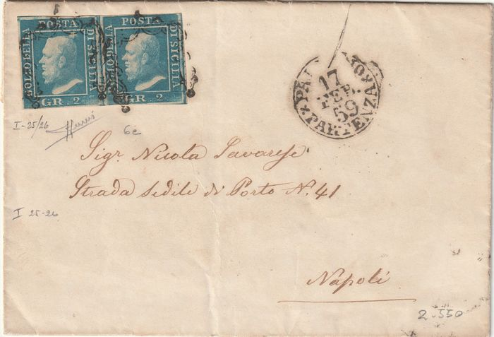 Italian Ancient States - Sicily 1859 - 2 gr. 1st plate pale light blue pair on envelope from Palermo to Naples, rare and certified - Sassone N. 6e