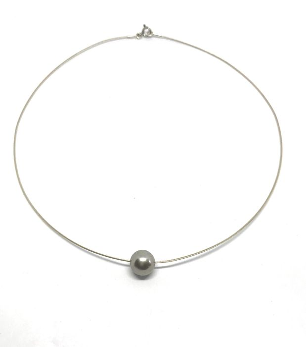 925 Silver, Tahitian pearl - Necklace (no reserve price)