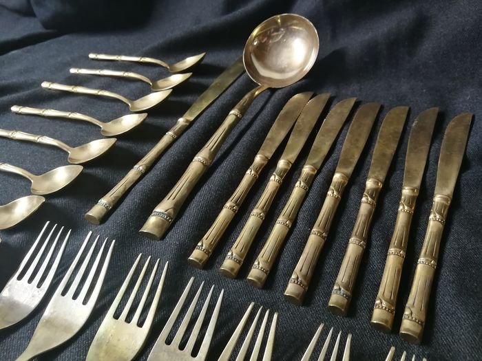 Vintage - 41 pieces - Brass Faux bamboo cutlery parts - Messing