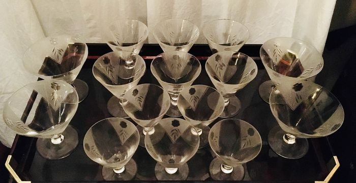 Drinking service, champagne glasses; shot glasses; wine glasses - Art Deco (15)