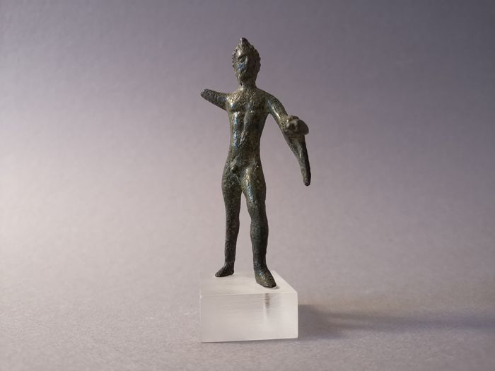Ancient Sabellian Bronze Herakles Statuette, Hero of the Military,    ex. Galleria Serodine Rosenbaum