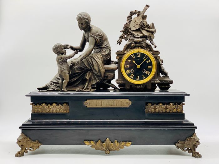 Antique Apollo and Leto Clock - Bronze (gilt/silvered/patinated/cold painted), Marble, Zamac - Second half 19th century