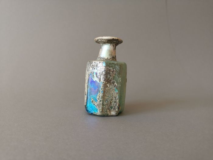 Ancient Roman Glass 8-Sided Bottle with Heavy Iridescence, ex. Gallery Barakat Jerusalem