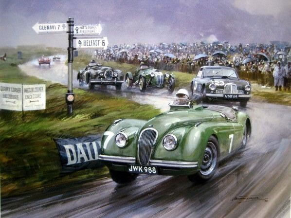 Bild/konstverk - Jaguar XK120 #7 Stirling Moss - Dundrod in Northern Ireland 1950