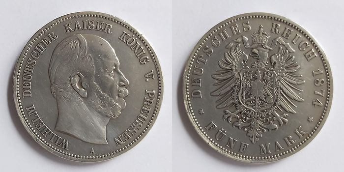 Germany - Prussia - 5 Mark 1874 A - Silver