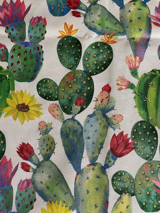 2.8 x 2.7 m - cactus decoration fabric - Cotton, Resin/Polyester - Late 20th century