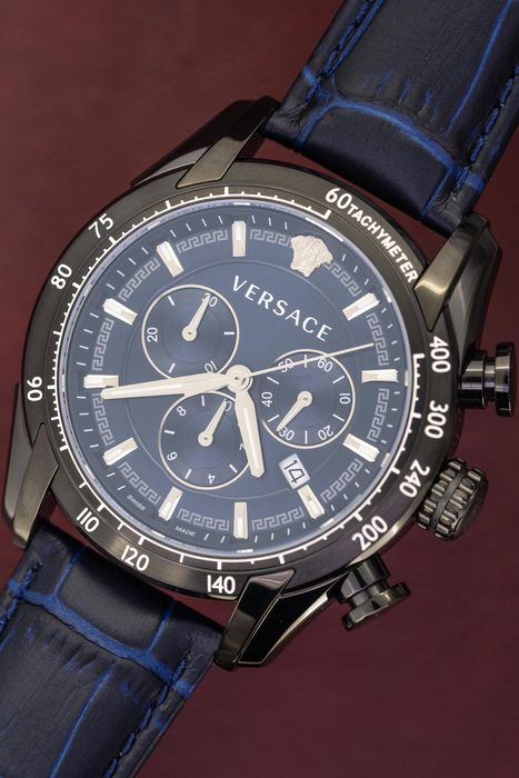 "Versace - Chronograph V-Ray Blue with Black PVD - VEDB00418 ""NO RESERVE PRICE"" - Men - Brand New"