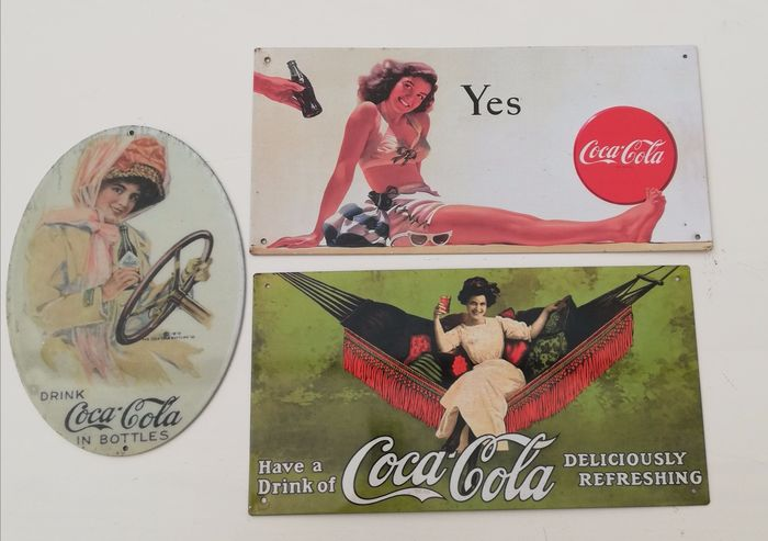 """Used, Lot of 3 rare advertising signs """"Coca-Cola - Vintage"""" (3) - metal tinplate Decorative for sale"""