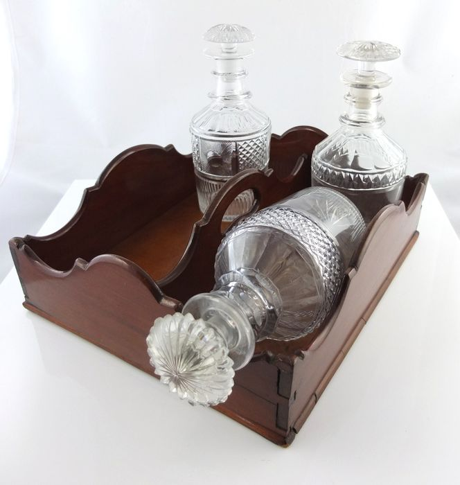 antique mahogany cutlery tray / bottle tray (1) - Victorian