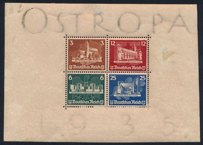 """German Empire 1934/1937 - Lot with better sets and blocks, including """"Professions"""", """"Folk Costumes"""" and Ostropa block - Michel Nr. 3"""