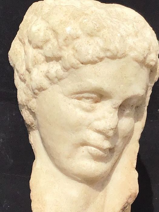 Ancient Roman Marble Roman marble bust from a relief - 13×7×13 cm - (1)