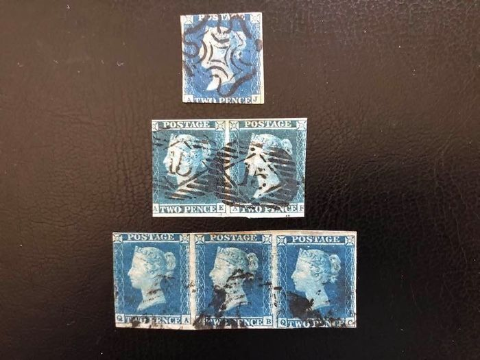 Great Britain 1840/1841 - 2d Bright Blue 1840, pair and triplet 1841. - Stanley Gibbons 4/6, 13/15